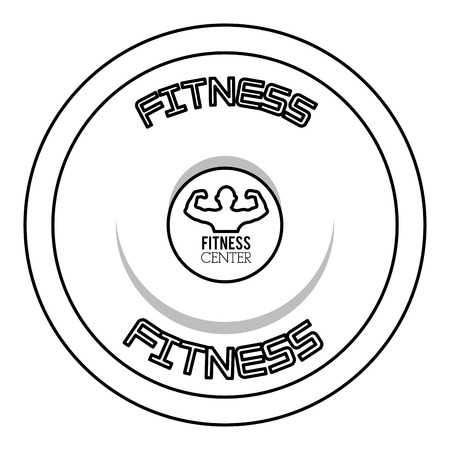 simple black line barbell sideview with words fitness on the top and bottom and man flexing in the center Illustration