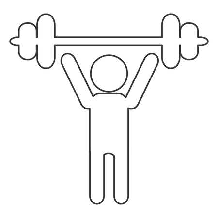 well being: simple black line person lifting barbell vector illustration