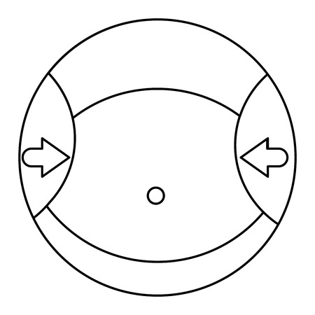 bellybutton: circle with the waist of a woman with arrows pointing vector illustration