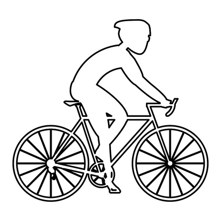 well being: simple black line of person riding a bike with full gear vector illustration