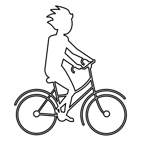 well being: simple black line person riding a bike vector illustration
