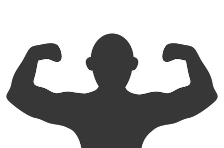 well being: silhouette of person with muscle arms flat style design