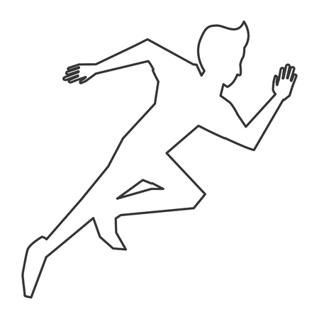 well being: simple black line person running vector illustration Illustration