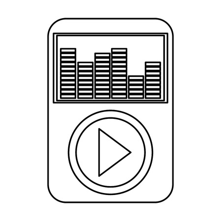audiovisual: simple black line music player with large play button and equalizer on the screen with earphones vector illustration