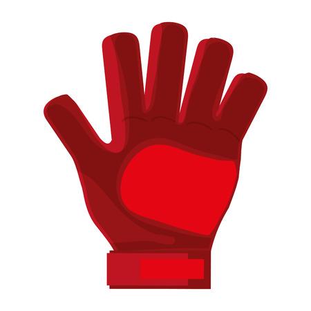 goalkeeper: red goalkeeper single glove vector illustration flat style design