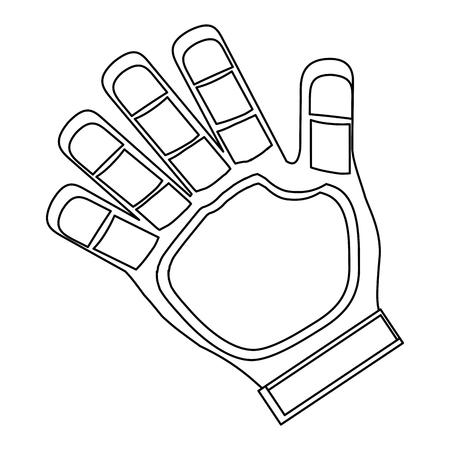 goalkeeper: simple black line goalkeeper single glove vector illustration