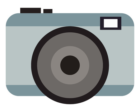 photographic: grey photographic camera with flash and buttons vector illustration Illustration
