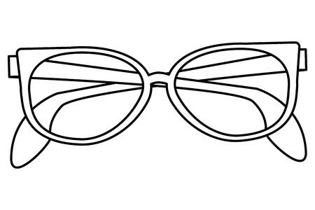 eyewear: simple black line sunglasses icon vector illustration