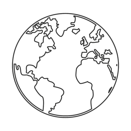 distinction: simple black line earth globe with distinction between earth and land vector illustration Illustration