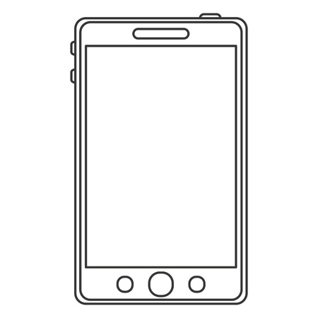 bottom line: simple black line cellphone with three buttons on the bottom vector illustration Illustration