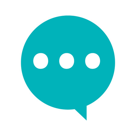 three dots: simple blue conversation bubble with three dots vector illustration