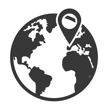 distinction: simple grey and white earth globe with land and water distinction and gps pin vector illustration