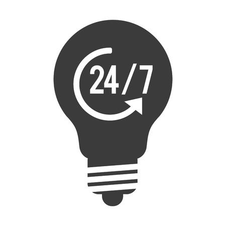 halogen: simple black and white lightbulb with 24 7 and arrow in the center vector illustration flat style design Illustration