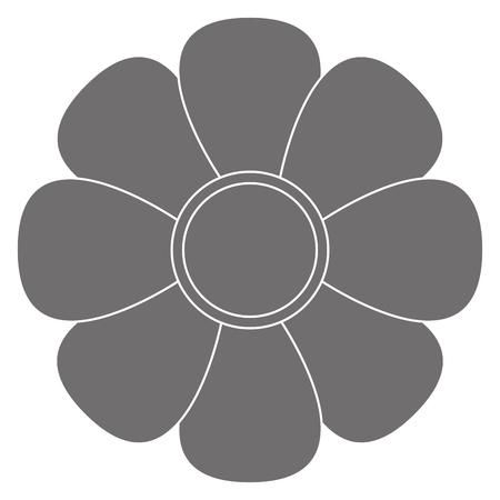 petal: grey eight petal flower flat design icon vector illustration