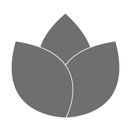 petal: grey three petal flower flat design icon vector illustration