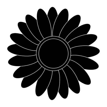 petal: black multiple petal flat design flower icon vector illustration