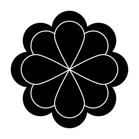 petal: black eight petal flower flat design icon vector illustration