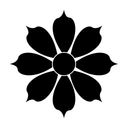 petal: black eight petal flower flat designicon vector illustration