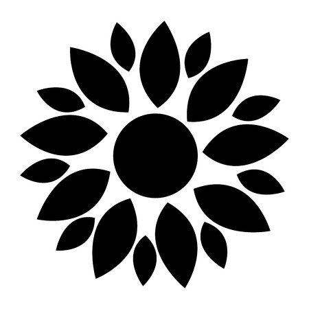 petal: black different size petal flower flat design icon vector illustration
