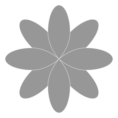 petal: grey eight oval petal flower flat design icon vector illustration Illustration