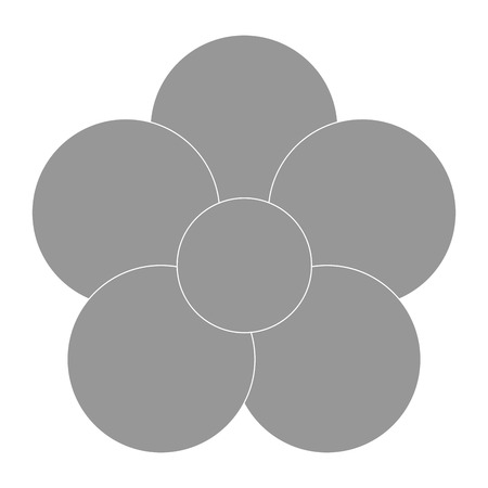 petal: grey five petal flower flat design icon vector illustration Illustration