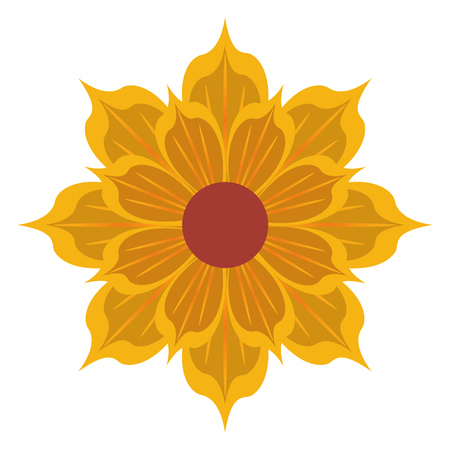 petal: yellow detailed petal flower flat design icon vector illustration