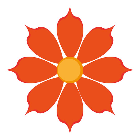 petal: flat design orange eight petal flower icon vector illustration Illustration