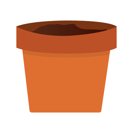 earthenware: simple orange clay plant pot vector illustration Illustration