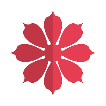 petal: flat design red eight petal flower icon vector illustration Illustration