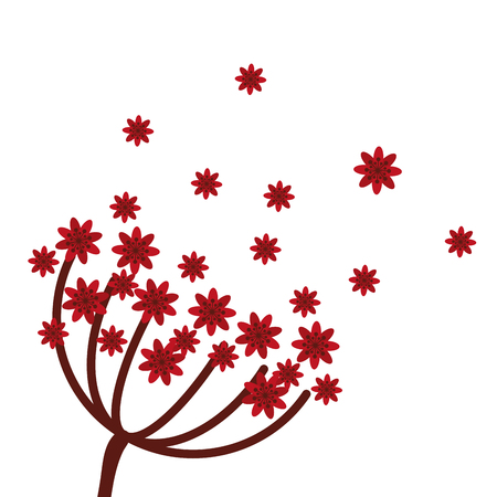 abstract symbolism: flat design red flowers icon vector illustration