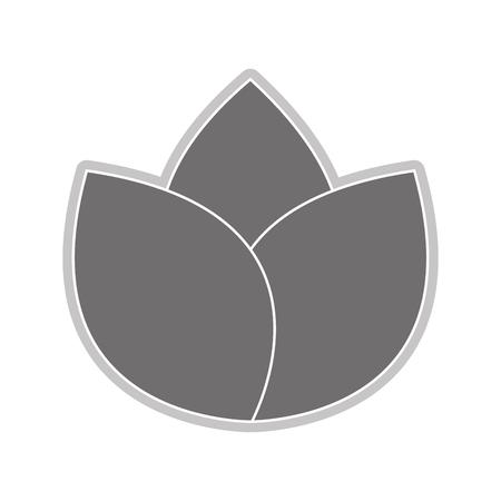 abstract symbolism: grey three petal flower flat design icon vector illustration