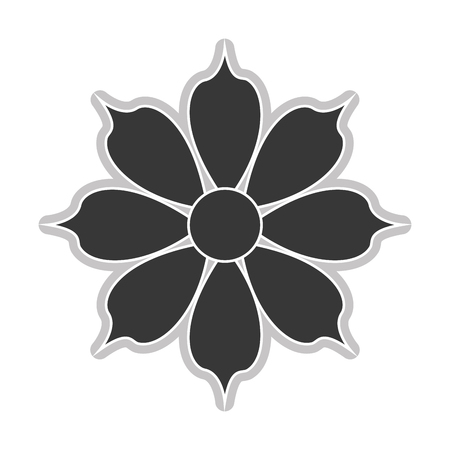 petal: grey eight petal flower flat design icon vector illustration