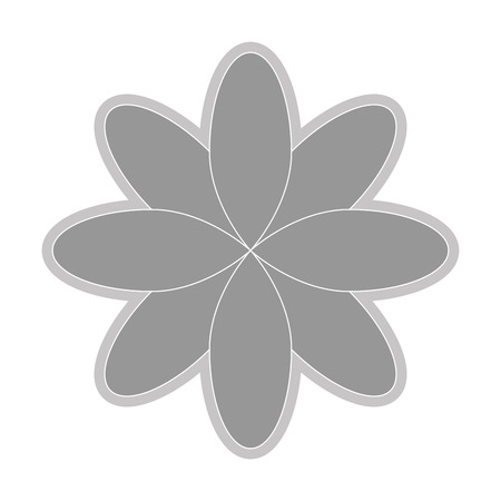 abstract symbolism: grey eight petal flower flat design icon vector illustration