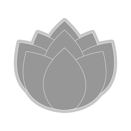 petal: grey nine petal flower flat design icon vector illustration