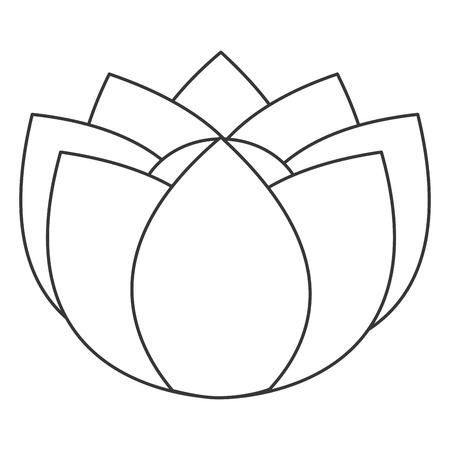 petal: simple black line nine petal flower icon vector illustration Illustration