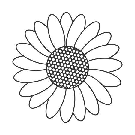 petal: simple black line multiple petal flower icon vector illustration