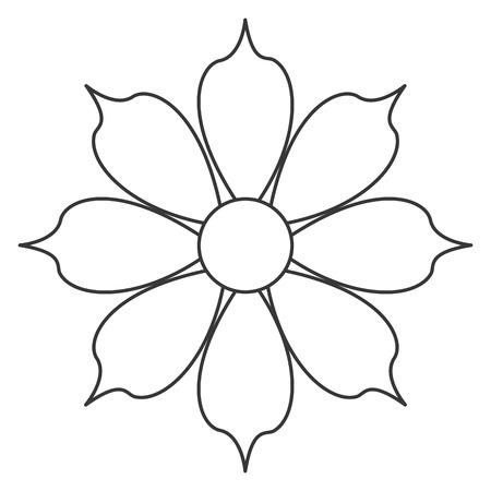 petal: simple black line eight petal flower icon vector illustration