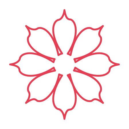 petal: red ouline eight petal flower icon vector illustration Illustration