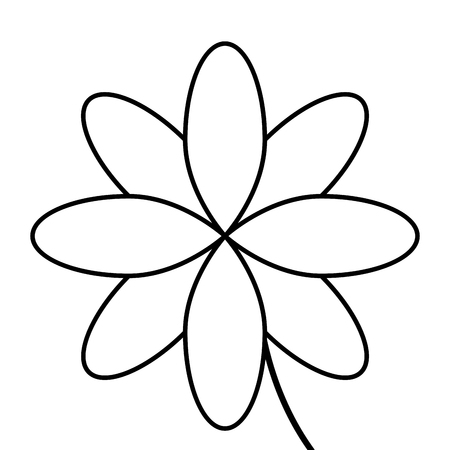 petal: simple black line eight petal flower icon vector illustration
