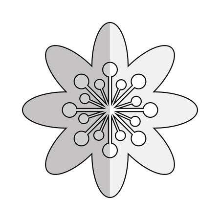 abstract symbolism: simple black line eight petal flower icon vector illustration