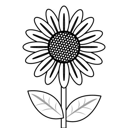 flower petal: simple black line multiple petal flower with stem and leaves icon vector illustration