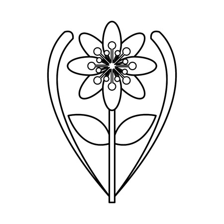 abstract symbolism: flat design eight petal flower with stem and leaf icon vector illustration