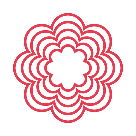 petal: red line multiple petal flower icon vector illustration