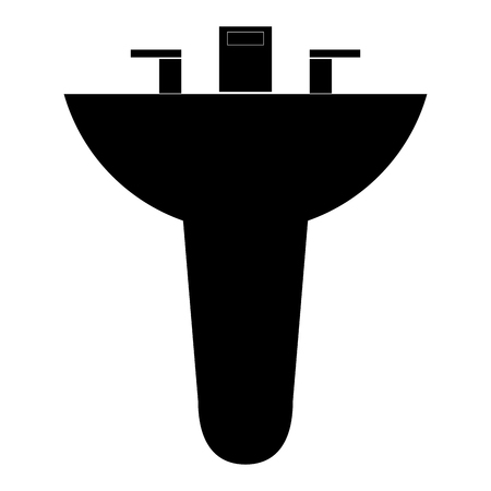 washbowl: black silhouette bathroom sink icon vector illustration Illustration