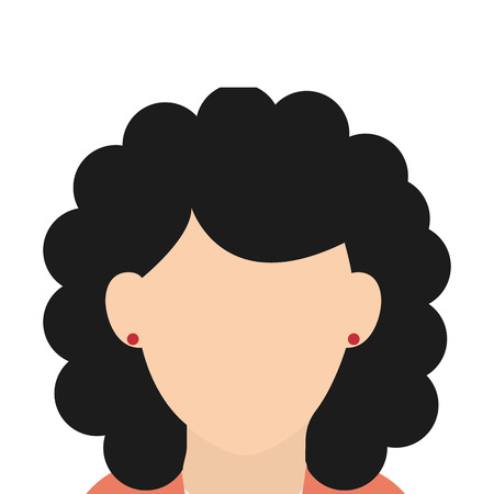 the caucasian: caucasian female with black curly hair vector illustration