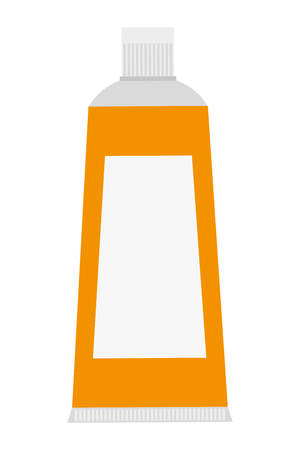 toiletries: flat design yellow toothpaste icon vector illustration Illustration
