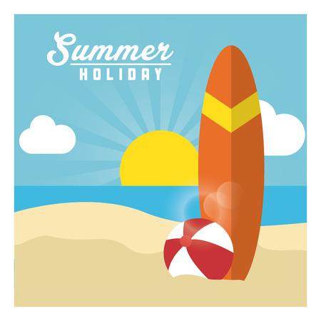 tabla de surf: Vacaciones de verano representados por la playa y el icono del mar. ilustración colorido Vectores