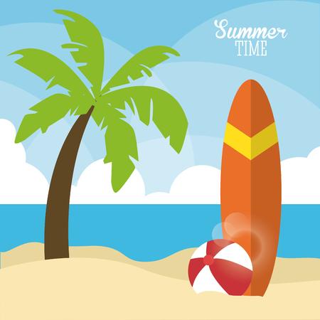 Vacaciones de verano representados por el árbol de palma, la pelota y el diseño de la tabla de surf. ilustración colorido