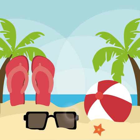 paradise beach: Summer Holidays represented by sandals, palm tree and glasses on the beach. colorfull illustration