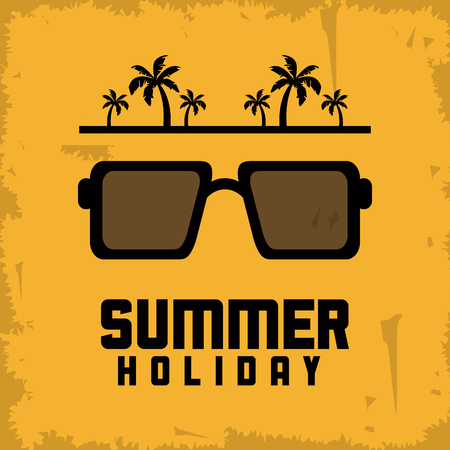 represented: Summer Holidays represented by glasses icon. Grunge and yellow background Illustration